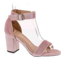 Chase & Chloe Carly-2 Women's Velvet Stacked Chunky Heel Strappy Platform Sandal