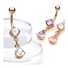 "Gold Plated Navel Belly Button Ring with Teardrop CZ - 14GA - 3/8"" Long (Sold Ind.)"