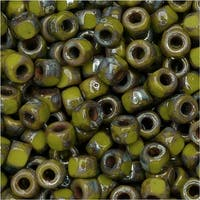 Czech Glass, Tri-Cut 6/0 Matubo Seed Beads, 8 Grams, Opaque Green Picasso