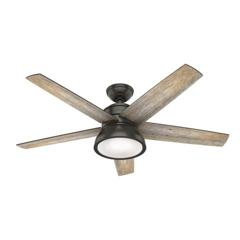 """Hunter 52"""" Abernathy Ceiling Fan with LED Light Kit and Handheld Remote - Noble Bronze"""