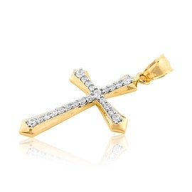 10K Gold Cross Charm With CZ 38mm Tall