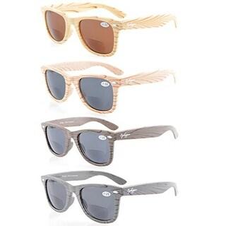 Eyekepper 4-pack Bamboo Wood Design Classic Sun Readers Bifocal Sunglasses+2.5
