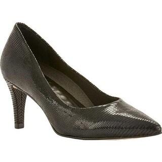 Walking Cradles Women's Sophia Pump Black Patent Lizard Print Leather