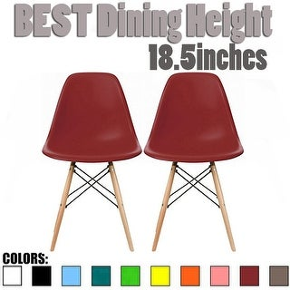 2xhome - Set of 2, Red Plastic Eiffel chairs Solid Wood Legs Dining