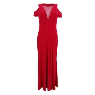 Nightway Women's Illusion Mesh Cold-Shoulder Gown