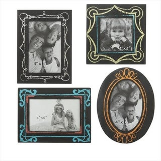 Pack of 4 Black Rectangular and Oval Faux Chalkboard Picture Frames 6""