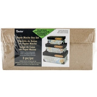 "Paper-Mache Rectangle Box Set 3/Pkg-4"", 5"" & 6"""