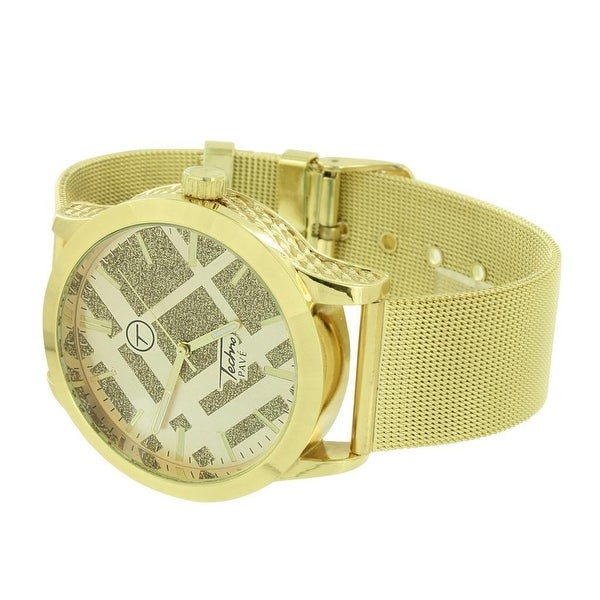 Mens Designer Gold Tone Watch Mesh Bracelet Illusion Dial Techno Pave Analog Display New In Style