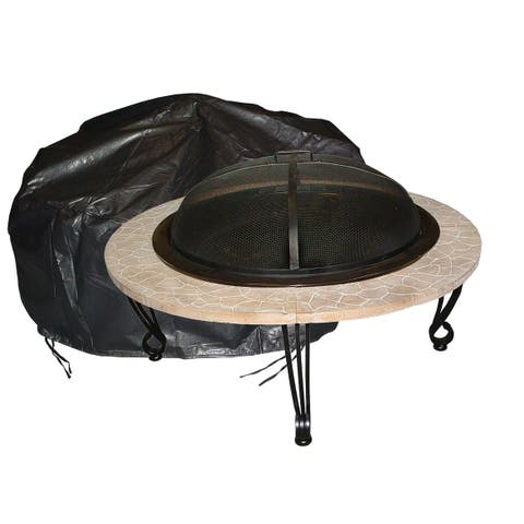Fire Sense 02126 Large Outdoor Round Fire Pit Vinyl Cover - - Black Vinyl