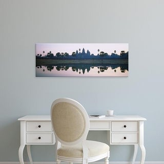 Easy Art Prints Panoramic Images's 'Reflection of temples and palm trees in a lake, Angkor Wat, Cambodia' Canvas Art