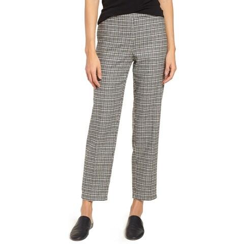 Eileen Fisher Black White Womens Size Medium M Plaid Dress Pants