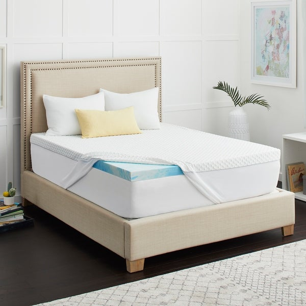 "2"" SealyChill Gel Memory Foam Mattress Topper with Cover. Opens flyout."