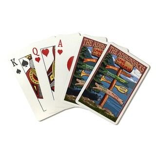 Lake George, New York - The Adirondacks - Destinations Sign - Lantern Press Artwork (Poker Playing Cards Deck)