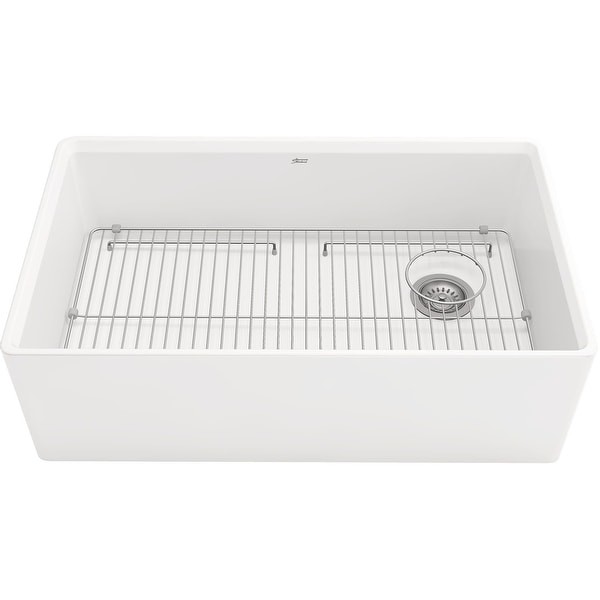 """American Standard 1180SB.3320 Avery 32-3/4"""" Farmhouse Single Basin Fireclay Kitchen Sink with Basket Strainer and Basin Rack"""
