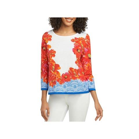 Foxcroft Womens Blouse Knit Floral Print