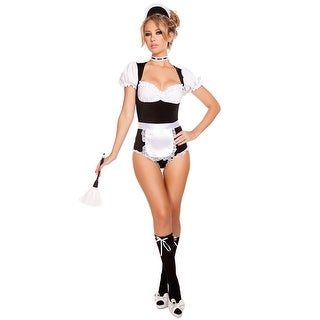 Foxy Cleaning Maiden Costume, Hoty French Maid Costume - Black/White