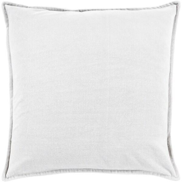 "18"" Solid Light Haze Gray Contemporary Woven Decorative Throw Pillow –Down Filler"