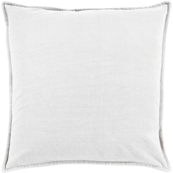 "22"" Solid Light Haze Gray Contemporary Woven Decorative Throw Pillow"