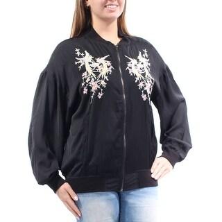 BUFFALO $99 Womens New 1216 Black Printed Embroidered Pocketed Jacket L B+B
