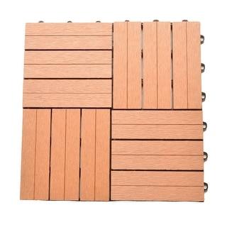 Zenvida 12 x 12 Inch Outdoor Bamboo Composite Interlocking Decking Tiles, 10 Pack (10 Sqft)