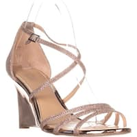 Jewel Badgley Mischka Hunt Strappy Wedge Sandals, Ros Gold Glitter