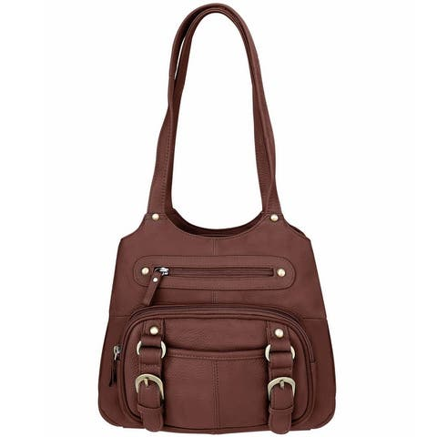 Womens Concealed Carry Purse Genuine Leather CCW Gun Handbag Shoulder Bag Tote - One Size