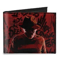 Freddy Pose2 + Hand Scratching Quote Scrawls Reds Black Canvas Bi Fold Wallet One Size - One Size Fits most