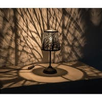 """Kanstar 15"""" Hollowed-out Metal Forest Antique Black Table Lamp"""