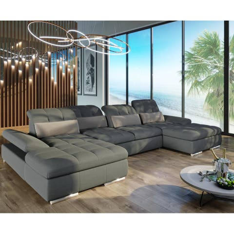 Barcelona 3pc Grey Sectional with Sofabed and two chaises with storage By Sofacraft