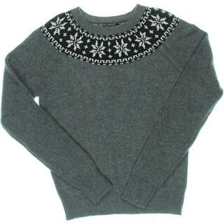 Aqua Womens Cashmere Fair Isle Pullover Sweater