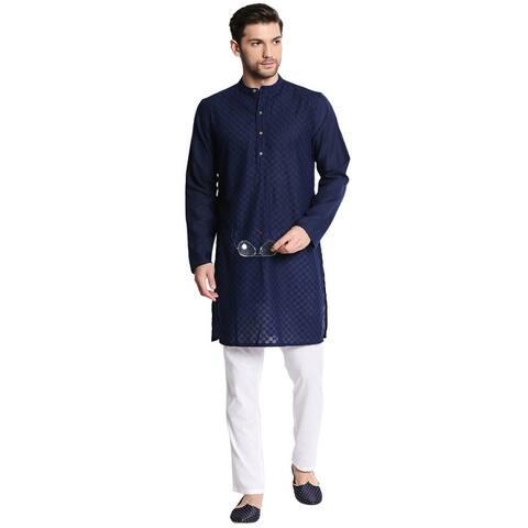 Men's Indian Mandarin Collar Handcrafted Fine Embroidered Kurta Tunic