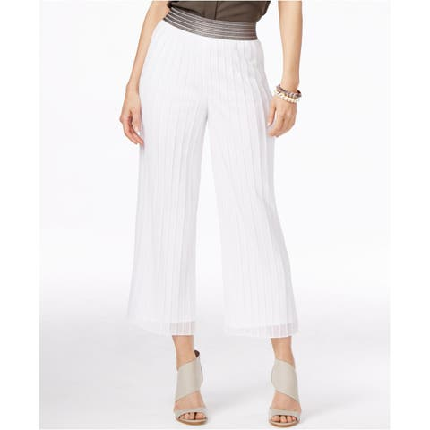 Alfani Womens Metallic Trim Pleated Culottes White M