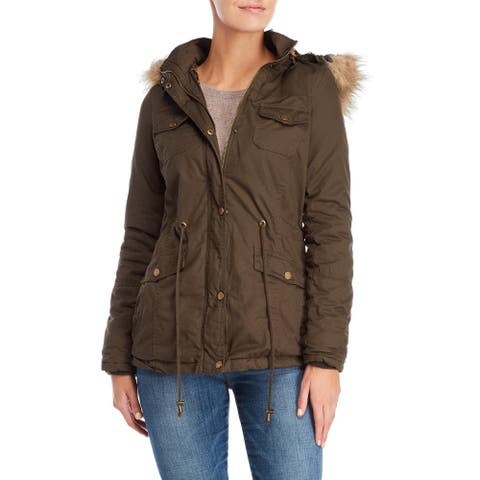 YMI Womens Jacket Olive Green Size Large L Anorak Faux Fur Hooded