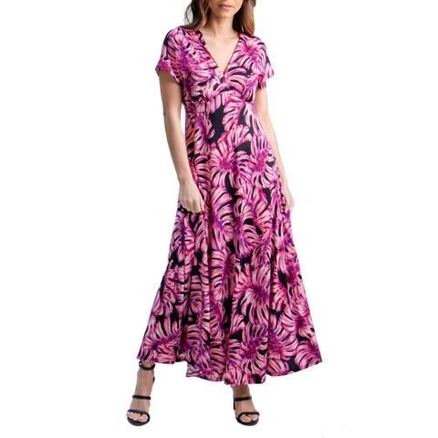 24seven Comfort Apparel Pink Cap Sleeve Empire Waist Maxi Dress, R004624PLF, Made in USA