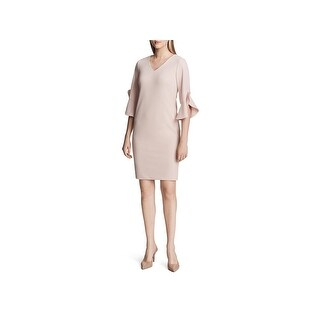 Calvin Klein Womens Scuba Dress Special Occasion Ruffled Sleeves
