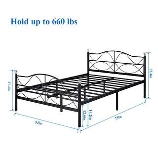 VECELO Beds Queen/Full/Twin Size Metal Plateform Beds