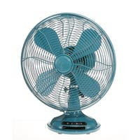 """16.5"""" Peacock Teal Euro Retro Adjustable 3 Speed Table Top Fan - Blue"""