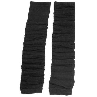 Women Elastic Fingerless Arm Warmers Elbow Decor Gloves Solid Black Pair