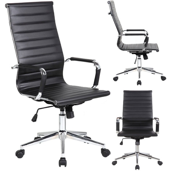 2xhome Executive Ergonomic High Back Eames Office Chair  : 2xhome Black High back Tall Ribbed PU leather Adjustable Seat Office Chair <strong>Purple</strong> High Back Chair from www.overstock.com size 600 x 600 jpeg 20kB