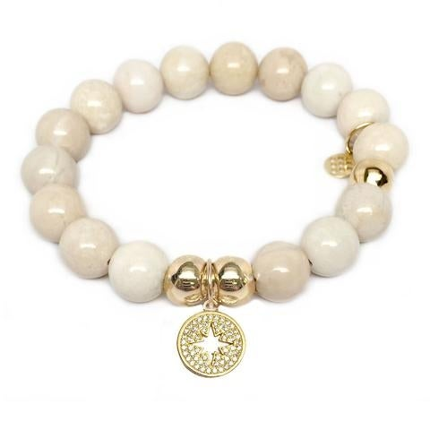 Julieta Jewelry Sunburst Charm Ivory Jade Bracelet