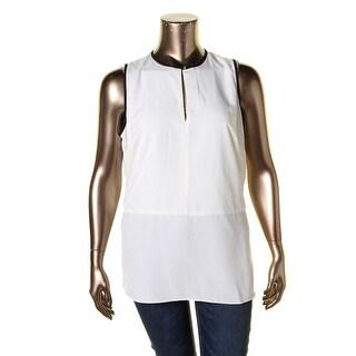 Lauren Ralph Lauren Womens Plus Blouse Contrast Trim Sleeveless