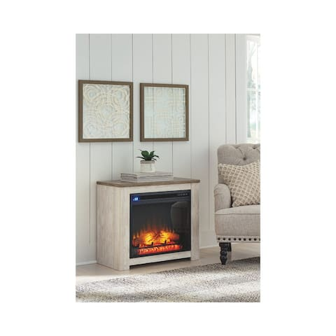 """Willowton Whitewash Casual Fireplace Mantel with Fireplace Insert - 29.76"""" W x 15.59"""" D x 26.18"""" H"""