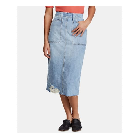 FREE PEOPLE Womens Blue Below The Knee Skirt Size 0