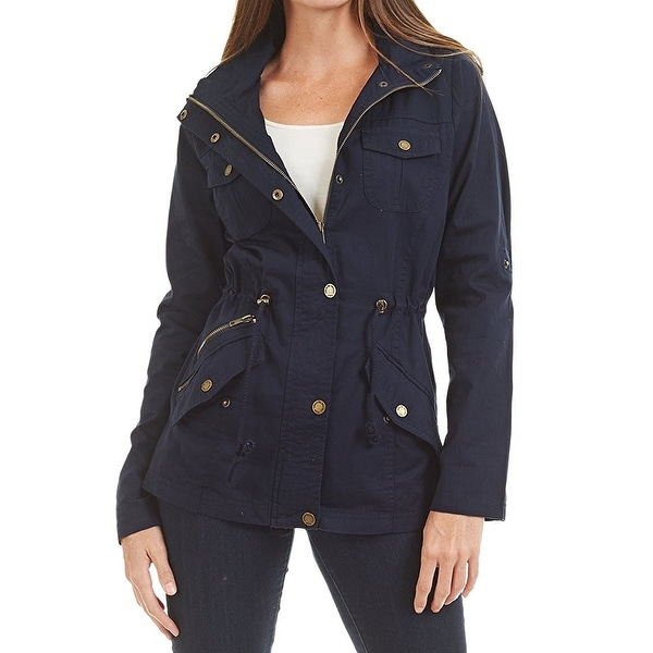 Shop Johnny NEW Navy Blue Womens Size Medium M Drawstring Military Jacket -  Free Shipping On Orders Over  45 - Overstock - 21126974 89c4f7017da