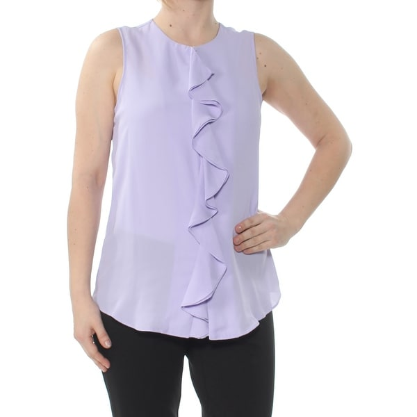 VINCE CAMUTO Womens Purple Ruffled Sleeveless Crew Neck Top Size: S