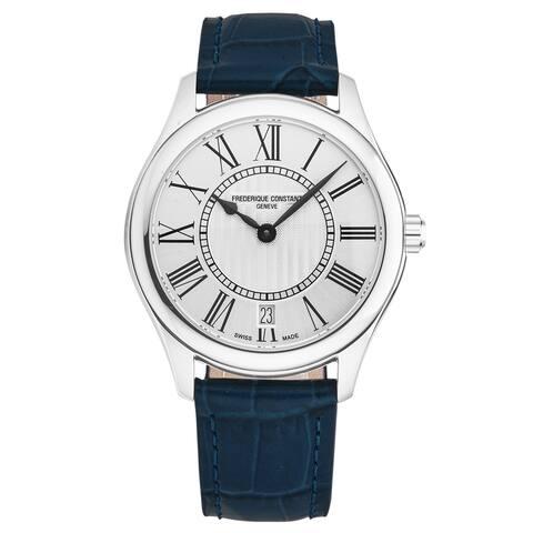 Frederique constant women's 'classics' silver dial blue leather strap swiss quartz watch