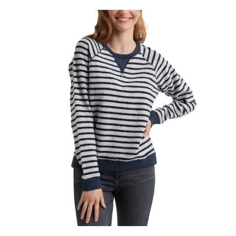 LUCKY BRAND Womens Navy Striped Long Sleeve Jewel Neck Top Size PS
