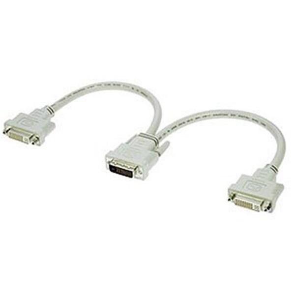 1ft DVI-D M To DVI-D F x 2 Split Cable Beige