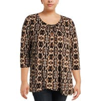 Rafaella Womens Plus Dress Top 3/4 Sleeve Snake Print