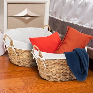 Costway Set of 2PC Large Seagrass Laundry Storage Basket Handles Home Decor - Natural Color